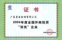 "2004年度全國外商投資""雙優""企業"